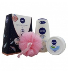 NIVEA ULTIMATE SOFTNESS SET gel de baño 250 ml, crema soft 200 ml y puff de bañoPUFF)