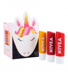 NIVEA UNICORN MOMENTS PACK 3 PROTECTORES LABIALES: FRESA, MANGO y CEREZA.