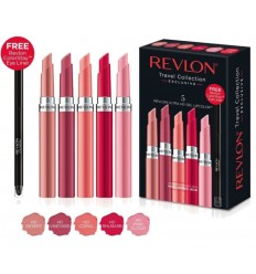 Revlon ULTRA HD Set Travel Collection 5 unidades labiales, incluye lápiz de ojos negro de regalo.