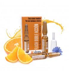 shora ampollas flash doble acción acido hialuronico + vitamina C envase 2unidades