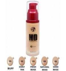 W7 HD Foundation Maquillaje 12H 30ml Sand Beige