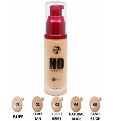 W7 HD Foundation Maquillaje 12H 30ml Sand Beige