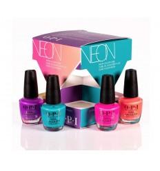 OPI Mini, Gel de Manicura y Pedicura Neons Summer 19 Mini Cube Kit - 4 Piezas