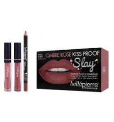 BELLAPIERRE KISS PROOF SLAY LIP KIT OMBRE ROSE (LIP CREME, LIP FINISH, LIP LINER)