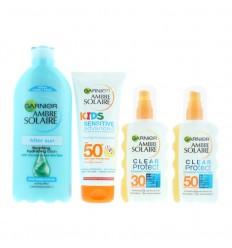 Garnier Ambre Solaire Family Sun Protección Solar SPF30 y SPF50 + Aftersun 4 Piezas