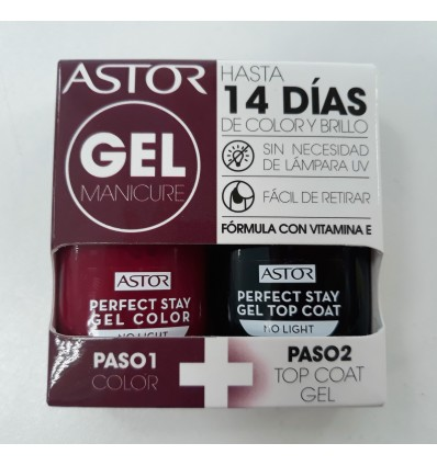 ASTOR GEL MANICURE 2 PASOS, COLOR + TOP COAT GEL 016, 2X12 ML