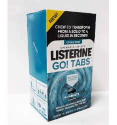 LISTERINE GO! TABS CHEWABLE TABLES CLEAN MINT TABLETAS MASTICABLES 4 UNIDADES